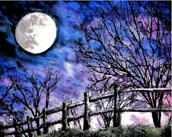 Moon Art Print featuring the painting Moon O're Hocking Hills by Mary Sonya Conti