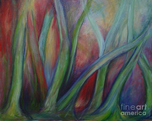 Forest Limbs Trees Original Oil Painting Expressionist Fantasy Art Print featuring the painting Numinous by Leila Atkinson