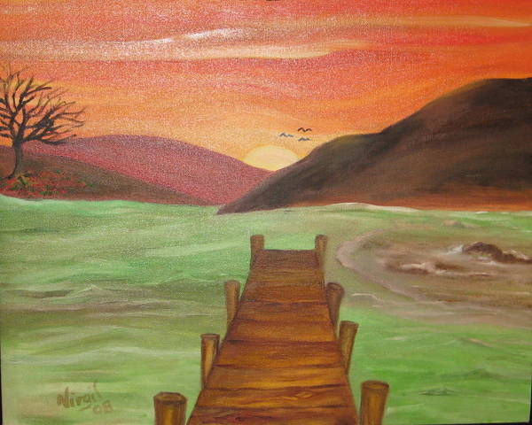 Landscape Art Print featuring the painting Orange Sky by Virgil Dublin