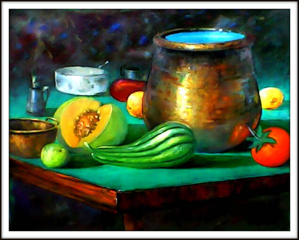 Oil On Canvas Art Print featuring the painting Panela De Metal by Leomariano artist BRASIL