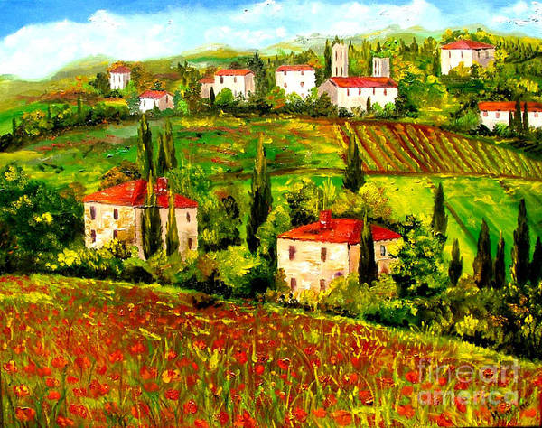 Tuscany Art Print featuring the painting Poppies Field by Inna Montano