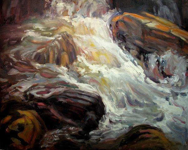 Landscape Paintings Art Print featuring the painting Rock Tumble by Brian Simons