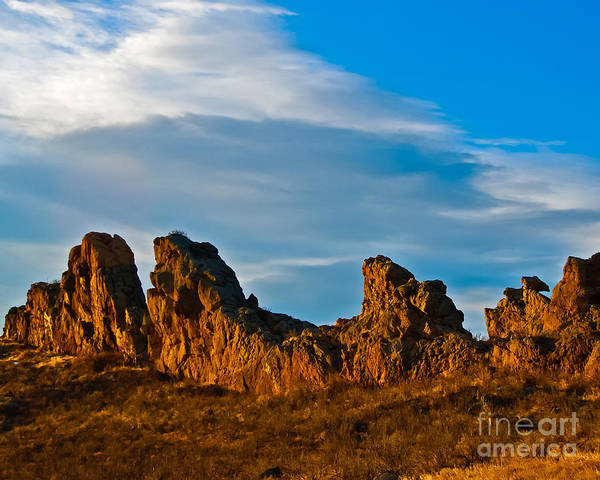 Clouds Print featuring the photograph Sunrise At Devil's Backbone by Harry Strharsky