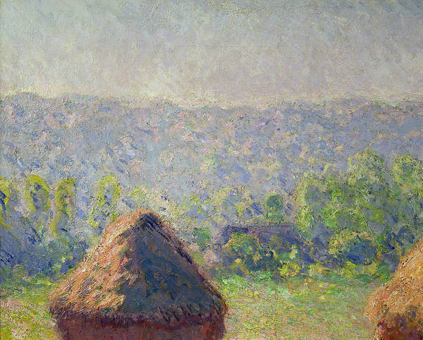 The Art Print featuring the painting The Haystacks by Claude Monet