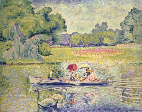The Promenade In The Bois De Boulogne Art Print featuring the painting The Promenade In The Bois De Boulogne by Henri-Edmond Cross