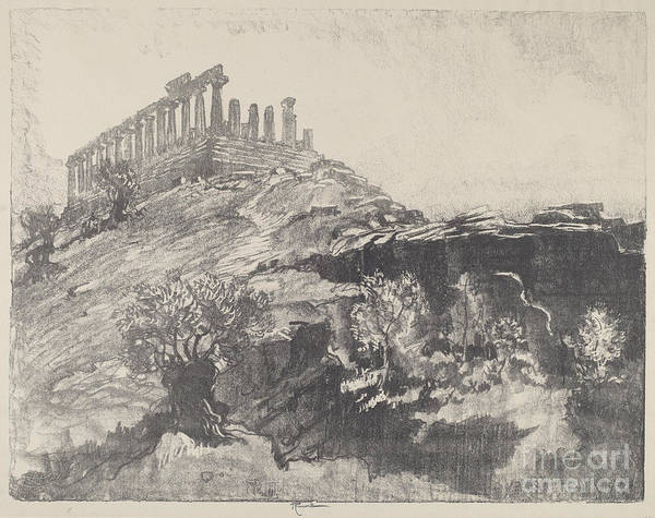 Art Print featuring the drawing The Temple Of Concord On The Wall, Girgenti by Joseph Pennell