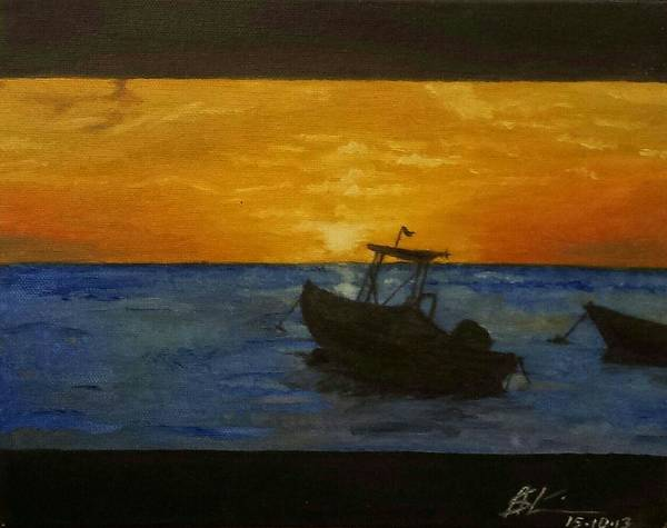 Landscape Art Print featuring the painting Tobago Sunset by Asiya Skinner
