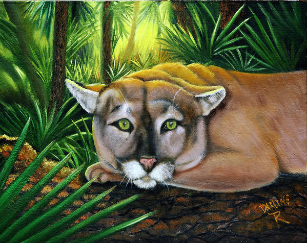 Panther Art Print featuring the painting Watching Florida Panther by Darlene Green
