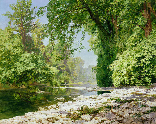 Landscape Art Print featuring the painting Wooded Riverscape by Leopold Rolhaug