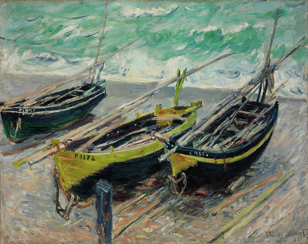 Claude Monet Art Print featuring the painting Three Fishing Boats by Claude Monet