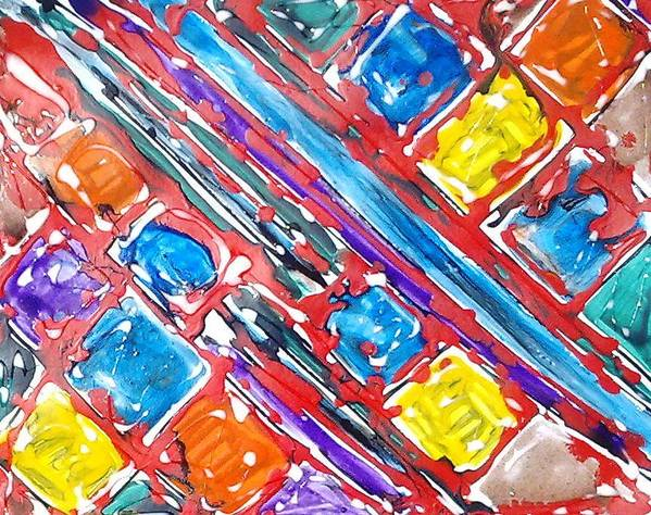Abstract Art Print featuring the painting Jugglery Of Colors by Baljit Chadha