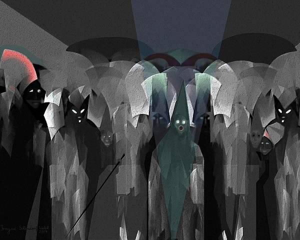 Ghost Art Print featuring the digital art 127 - Nightwalkers Dark by Irmgard Schoendorf Welch