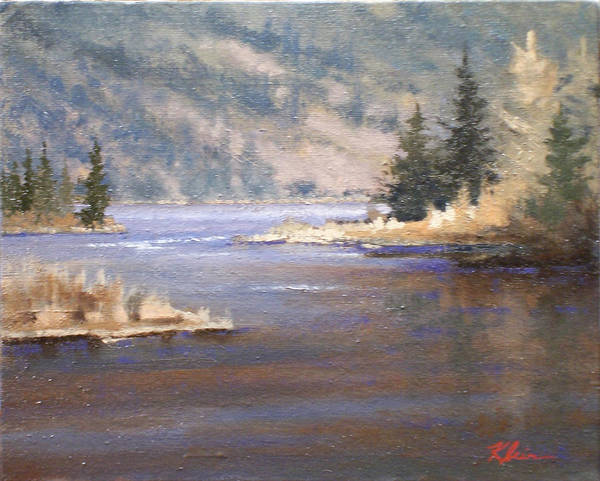 Landscape Art Print featuring the painting Kootenai River by Dalas Klein