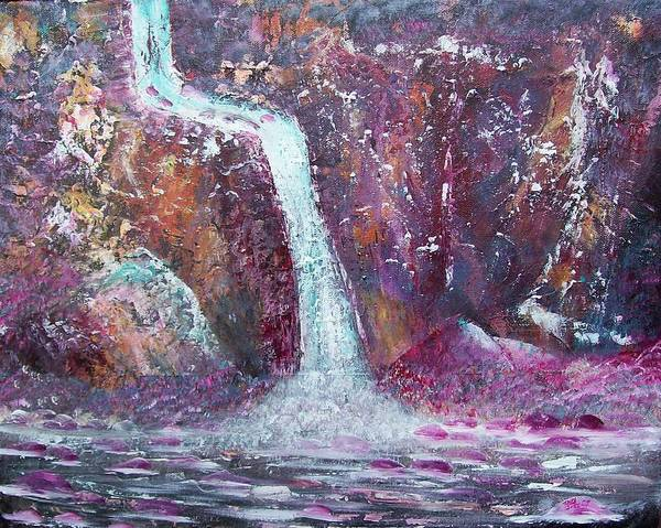 Abstract Art Print featuring the painting Waterfall by Tony Rodriguez