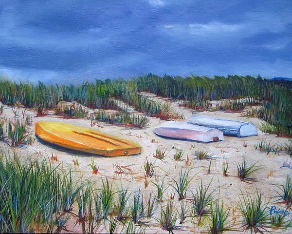 Cape Cod Art Print featuring the painting 3 Boats by Paul Walsh