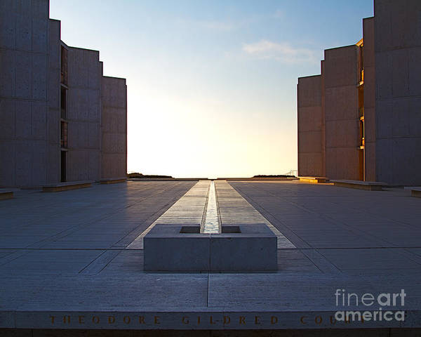 Architecture Art Print featuring the photograph Design And Architecture Of The Salk Institute In La Jolla Califo by ELITE IMAGE photography By Chad McDermott
