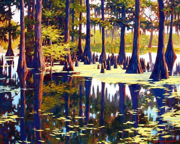 Swamp Art Print featuring the painting Reflections by Kevin Lawrence Leveque