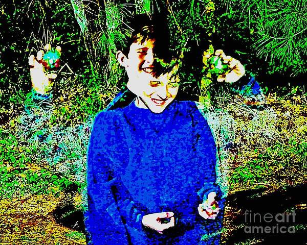 Juggling Art Print featuring the photograph 4 Hands More Fun by Kasha Baxter