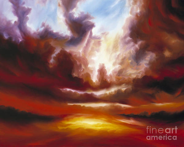 Tempest Art Print featuring the painting A Cosmic Storm - Genesis V by James Christopher Hill
