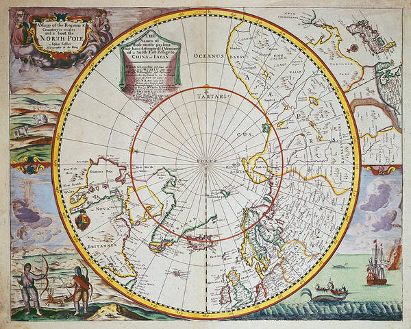 Map Print featuring the drawing A Map Of The North Pole by John Seller