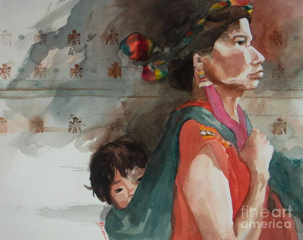 A Native Guatemalan Mother And Child Art Print featuring the painting A Mother's Resolve by Elizabeth Carr