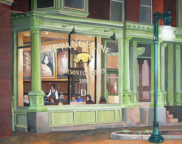 Restaurant Art Print featuring the painting A Night At Evangeline by Dominic White