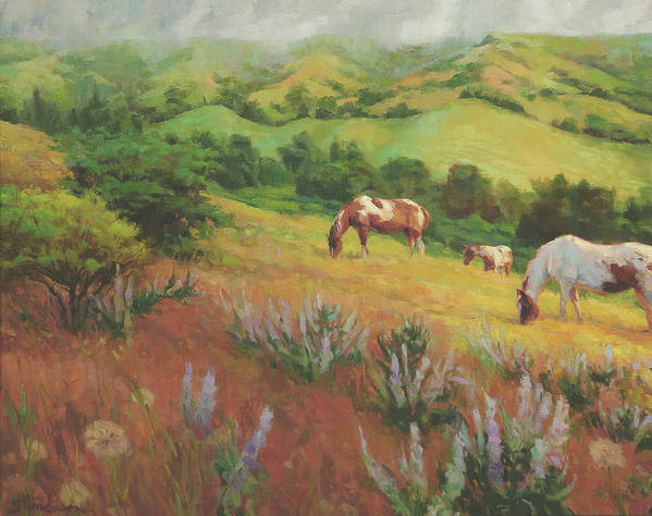 Horse Art Print featuring the painting A Peaceful Nibble by Steve Henderson