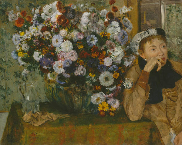 19th Century Art Art Print featuring the painting A Woman Seated Beside A Vase Of Flowers by Edgar Degas
