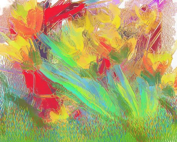 Abstract Art Print featuring the painting Abstract Flowers by Harry Dusenberg