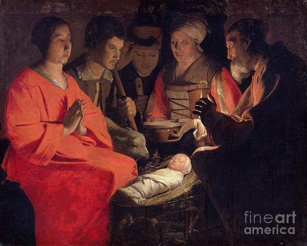 Adoration Art Print featuring the painting Adoration Of The Shepherds by Georges de la Tour