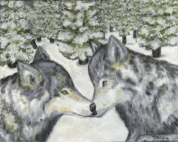 Wolves Art Print featuring the painting Affection In The Wild by Tanna Lee M Wells