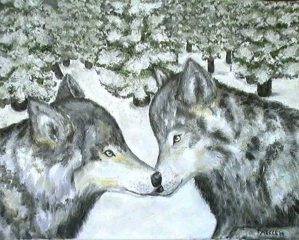 Winter Art Print featuring the painting Affection In The Wild by Tanna Lee Wells
