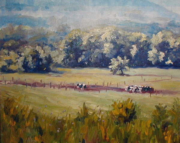 Landscape Art Print featuring the painting After Morning Milking by Kathy Busillo