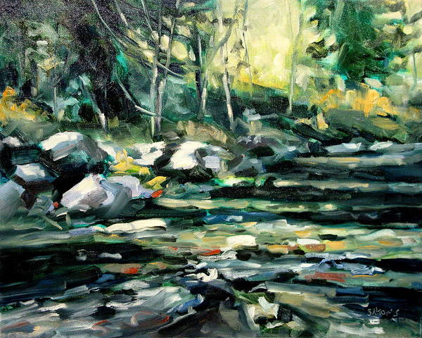 Landscape Paintings Art Print featuring the painting Afternoon River by Brian Simons