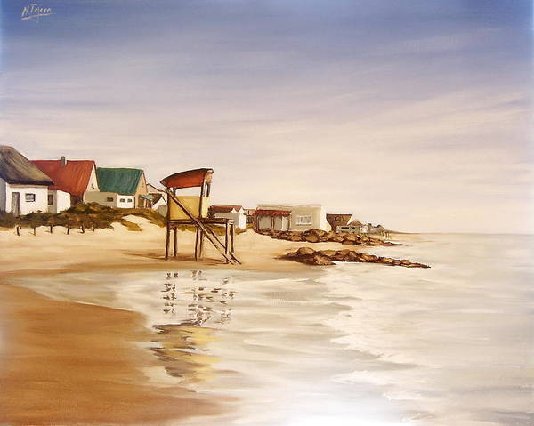 Seascape Sea Reflection Water Seaside Art Print featuring the painting Aguas Dulces by Natalia Tejera