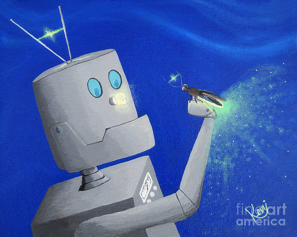 Robot Art Print featuring the painting A.i. And The Firefly by Kerri Ertman