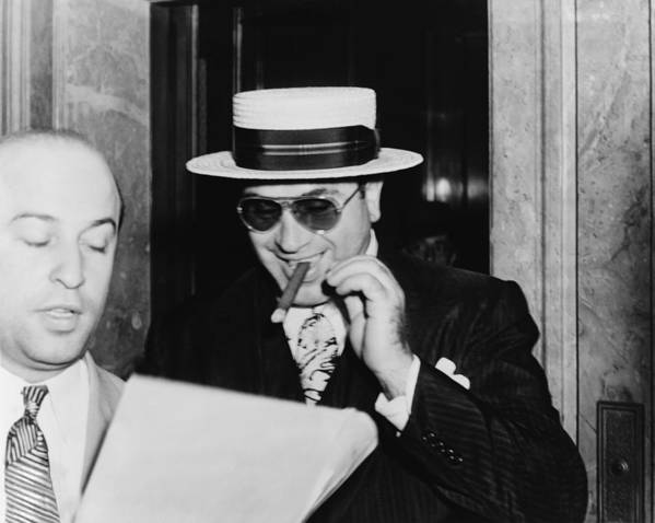 History Print featuring the photograph Al Capone, With A Cigar And A Big by Everett