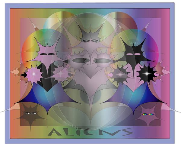Fantasy Art Print featuring the digital art Aliens by George Pasini