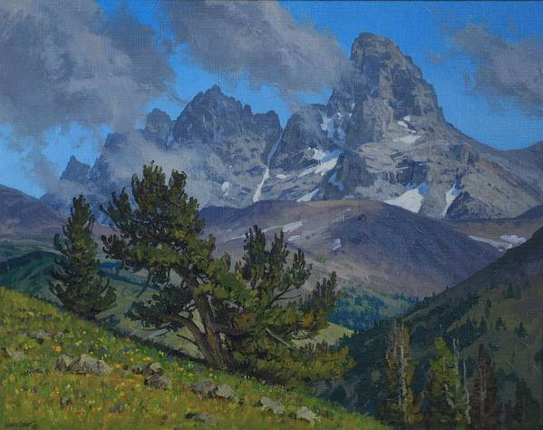 Landscape Art Print featuring the painting Alpine Sentinels by Lanny Grant
