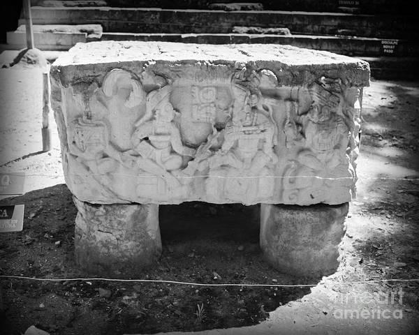 Altar Art Print featuring the photograph Altar At Copan Ruins In Honduras by Trude Janssen