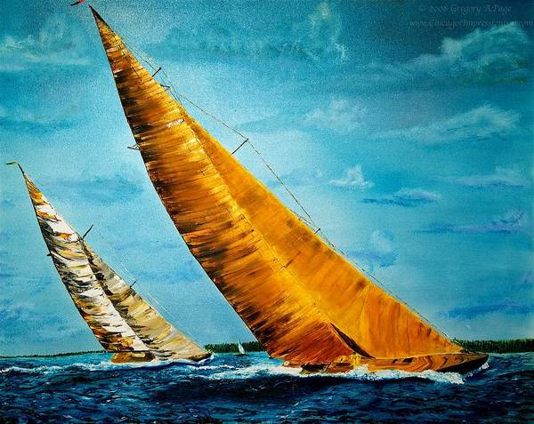 America Art Print featuring the painting Americas Cup Sailboat Race by Gregory Allen Page