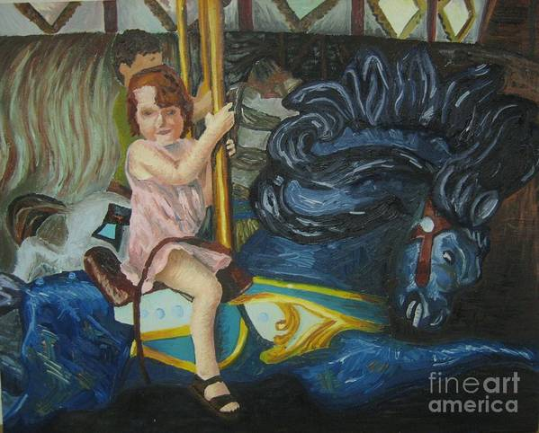 Carousel Art Print featuring the painting And The Painted Ponies Go Up And Down by Kayla Race