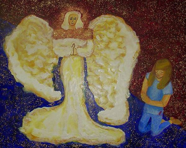 Angel Art Print featuring the painting Angel And Child by Helen Musser