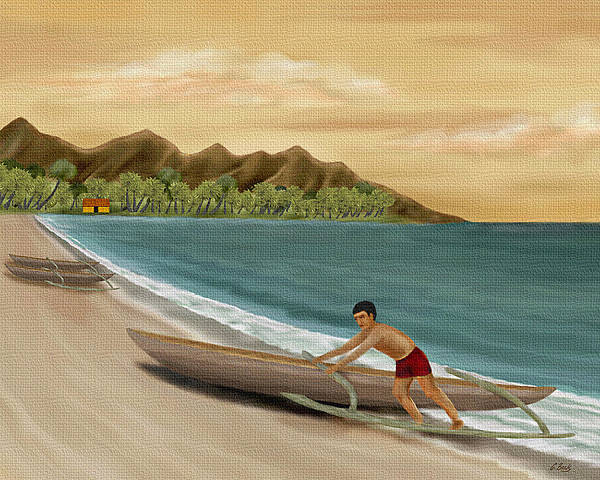 Tropical Island Seascape Ocean Nature South Seas Palms Mountains Outrigger Boat G Art Print featuring the painting Another Day by Gordon Beck