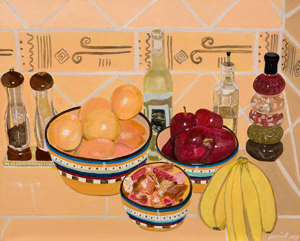 Still Life Art Print featuring the painting Apples Oranges And Bananas by Arvin Nealy