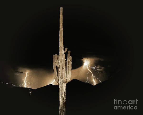 Lightning Art Print featuring the photograph Arizona Monsoon, Sepia by Don Schimmel