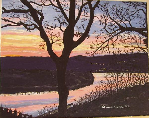 Water Art Print featuring the painting Arkansas River Sunset by Sharon De Vore