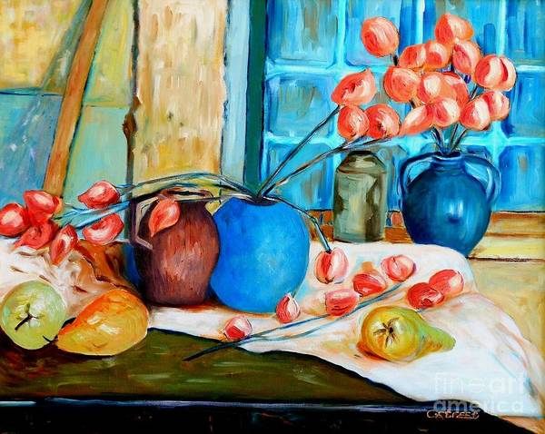 Still Life Art Print featuring the painting Arranging The Flowers by Caroline Street