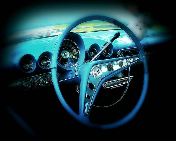 Car Art Print featuring the photograph At The Wheel by Perry Webster