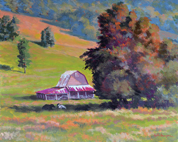 Impressionism Art Print featuring the painting August Pastures by Keith Burgess